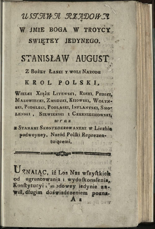 [Ustawa rządowa : prawo uchwalone dnia 3 Maja roku 1791] [B.m. : b.w., po 3 V 1791]