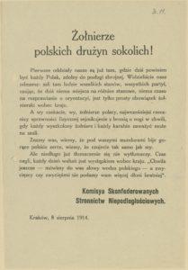 Odezwa Komisji Skonfederowanych Stronnictw Niepodległościowych do żołnierzy drużyn sokolich z 8 sierpnia 1914 r.