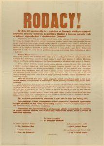Odezwa wystosowana z okazji obchodów 15 rocznicy wymarszu Legionu Śląskiego zaplanowanych na 20 października 1929 r.