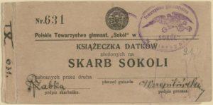 Książeczka datków na skarb sokoli z pieczątką cieszyńskiego gniazda Sokoła i podpisem jego prezesa Hieronima Przepilińskiego