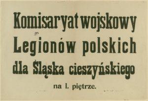 Szyld Komisariatu Wojskowego Legionów Polskich w Cieszynie.