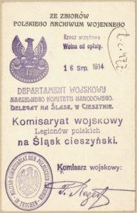 Karta pamiątkowa do zbiorów Polskiego Archiwum Wojennego autorstwa Tadeusza Regera.