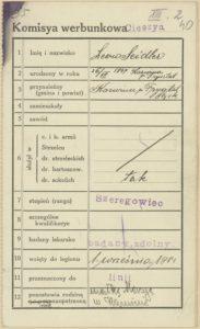 Karta werbunkowa Leona Seidlera (ur. 1897 r.) wcielonego do Legionów 1 wrzesnia 1914 r.